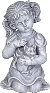 "Exhart Child & Kitten Garden Statue – Imitation Stone Statue of Little Girl & Cat – Child Art Resin Decor Best for Porch, Yard, Patio, and Garden, 10"" Stone Girl Statue, Classic Garden Decor"