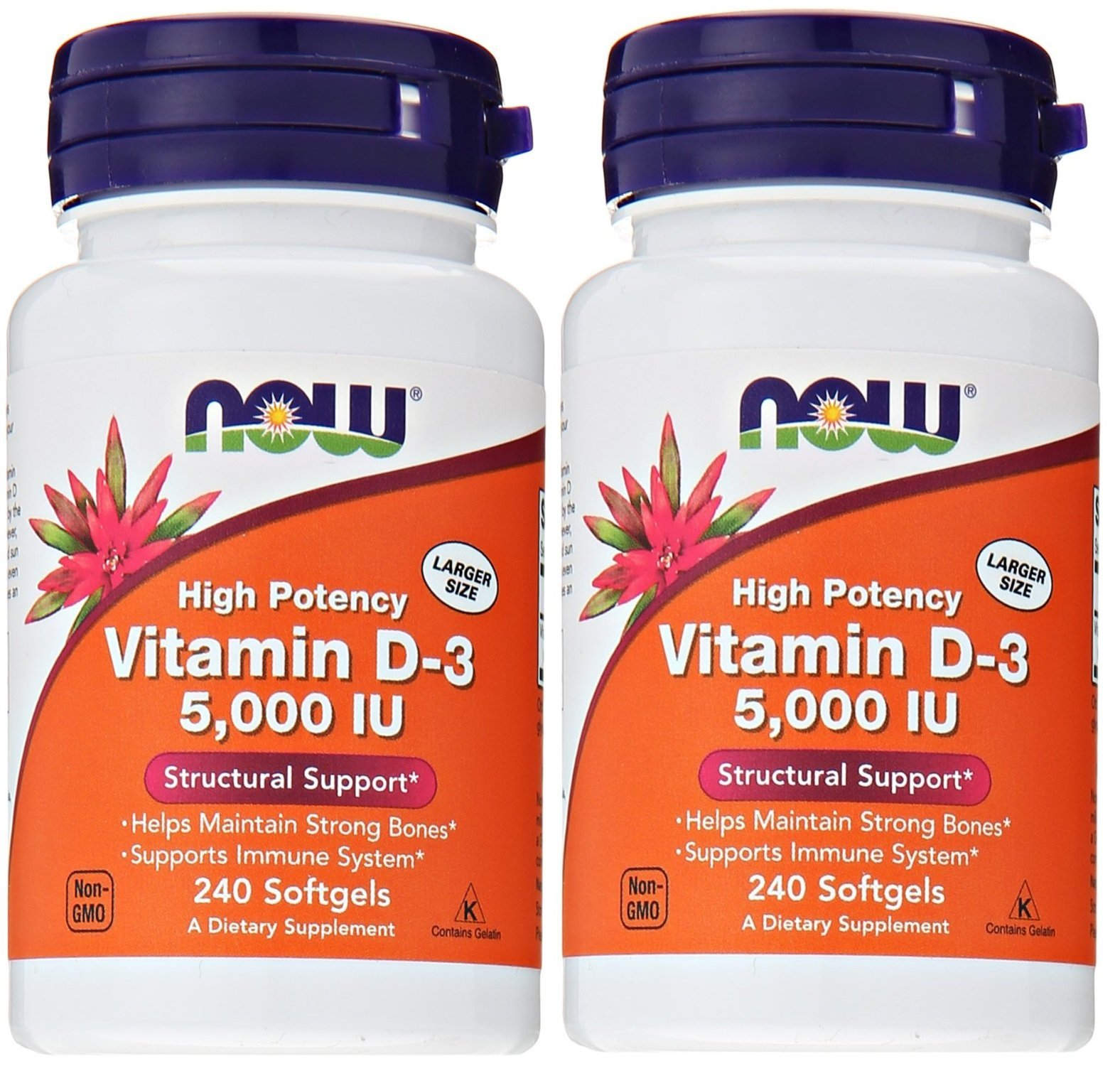 Now Foods Vitamin D3 5,000 IU, 240 softgels (Pack of 2) by Now Foods