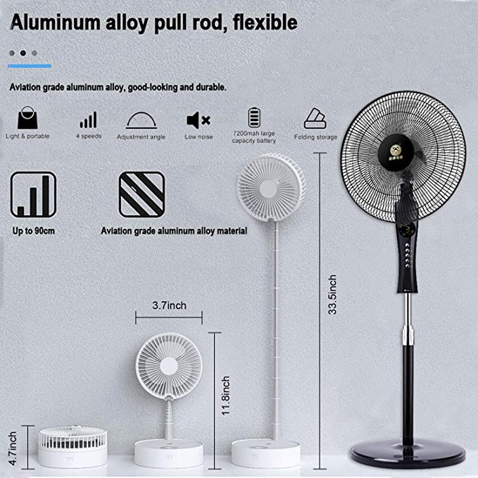 USB Rechargeable Desk Fan with Lights and Remote Control White Taipow Stand Fan Portable Folding Misting Fan Multifunctional Personal Cooling Fan with 4 Speed Humidifying Spray Fan