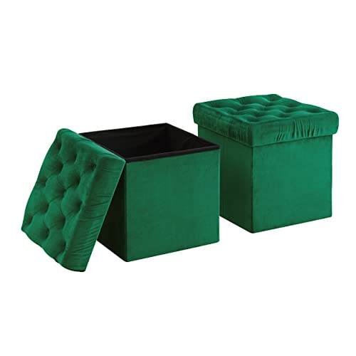 AC Pacific Foldable Storage Ottoman Cube Foot Rest, Green 2 Pack