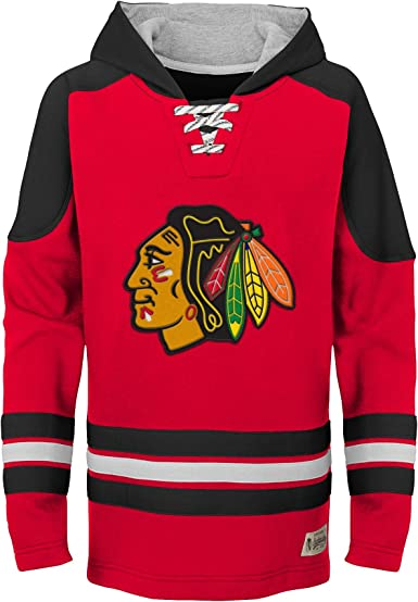 NHL CHILDS CHICAGO BLACKHAWKS TEE SHIRT WITH HOOD GRAY AND RED SIZE 4