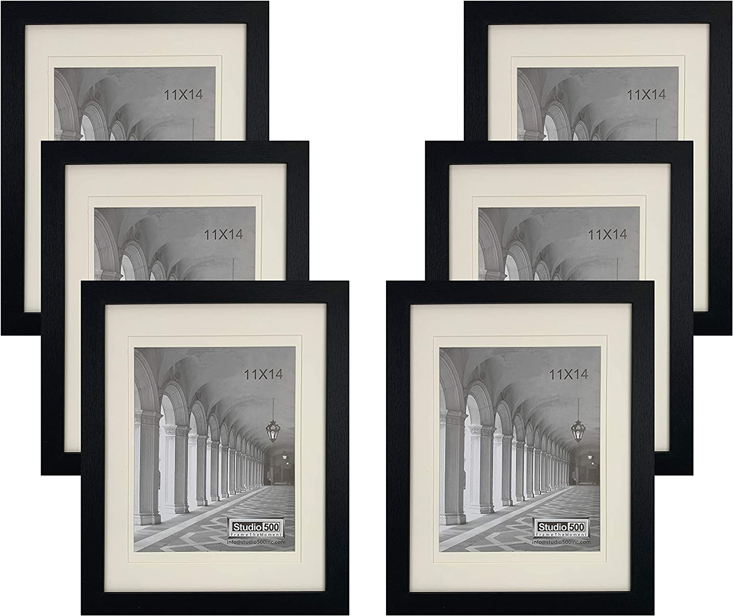 Studio 500~11x14 Black Distressed Wide Border Picture Frames w/Off-White Mats from Our Distressed Collection (MDF2915) Black, 6-Pack