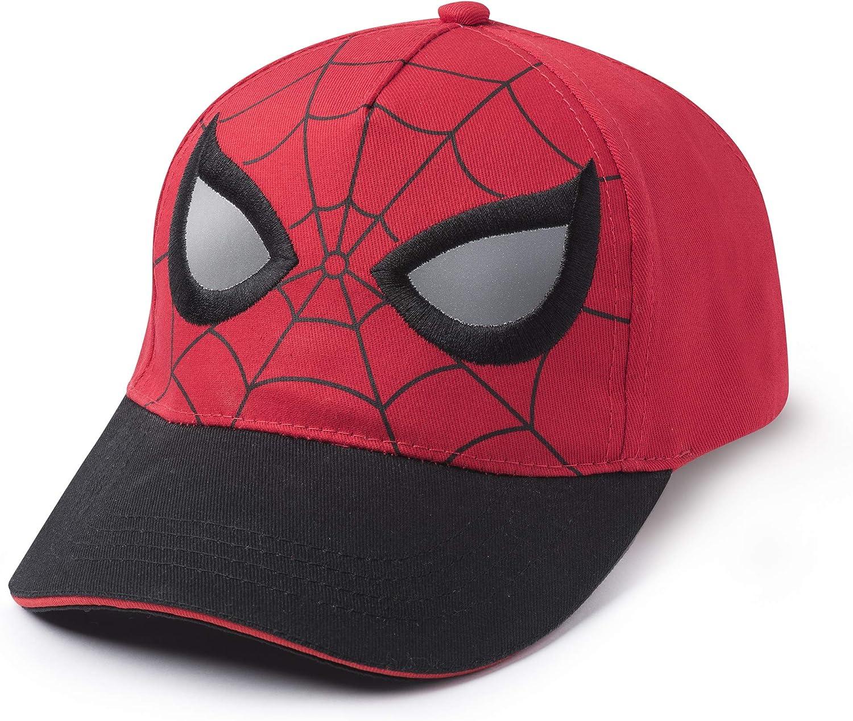 Marvel Spiderman Mask Face Eyes Baseball Cap Hat, Boys Ages 2-5, Red, Black: Clothing