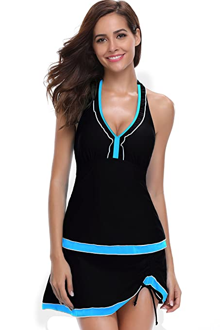 c6e4a5603 SHEKINI Women Swimwear Built-in Shorts Backless Lace Up Swim Top Retro  Swimdress Two Piece Tankini Swimsuits