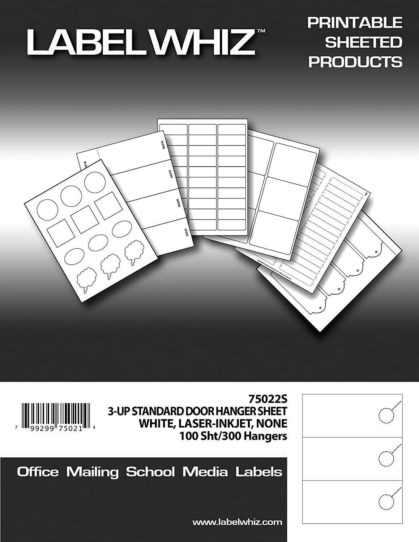 Amazon.com : Adhesive Label Blank Printable Door Hanger Tags, 3-2/3 ...