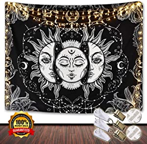 Sun and Moon Tapestry Black and White, Burning Sun with Star Wall Hanging, Psychedelic aesthetic Mystic Tapestries, Hippie Beach Blanket for Living Room Bedroom Home Decor, 51.2