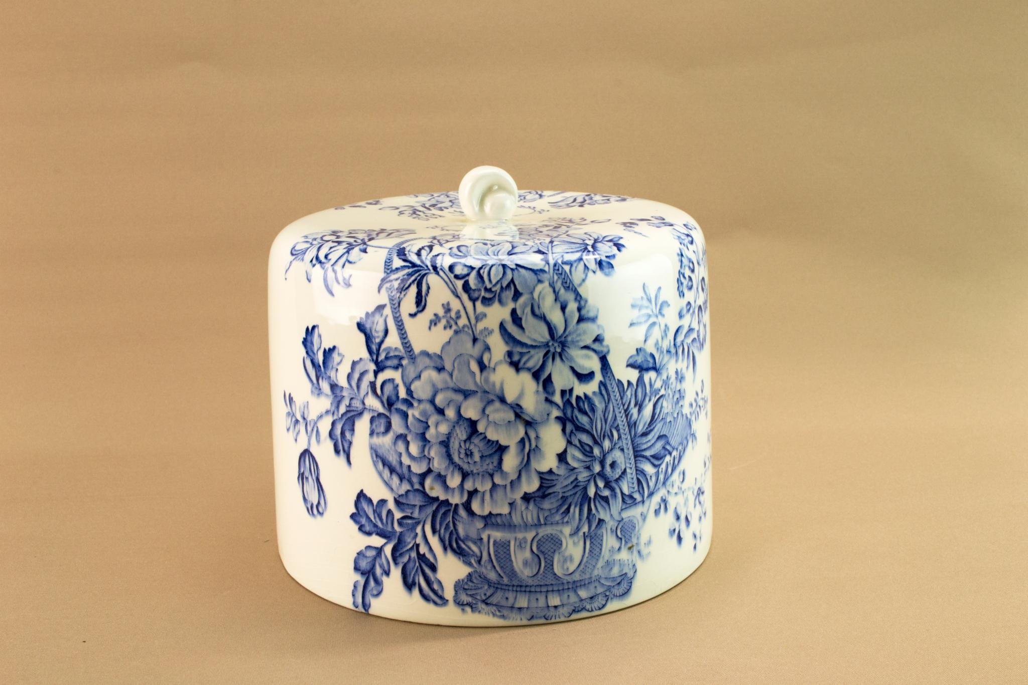 Blue & White Cheese Dome Lid Cover for Dish Platter Vintage English c 1930