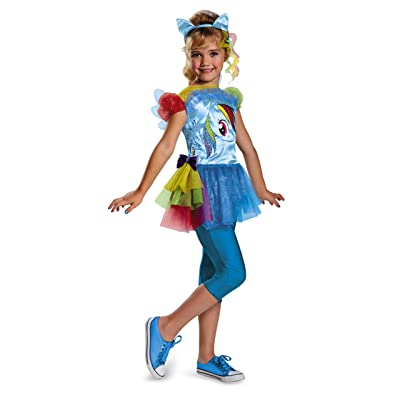 Hasbro's My Little Pony Rainbow Dash Classic Girls Costume, Medium/7-8: Toys & Games