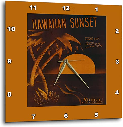 3dRose Hawaiian Sunset Tropical Sunset with Palm Tree – Wall Clock, 13 by 13-Inch DPP_170739_2