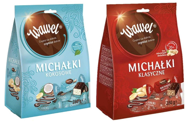 WAWEL MICHALKI 2 pack x 280 g (9.87 oz) Classic Peanut Chocolates & Peanut Chocolates with Coconut. Product from Poland.