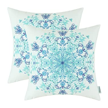 CaliTime Pack of 2 Cozy Fleece Throw Pillow Cases Covers for Couch Bed Sofa Vintage Mandala Snowflake Floral 18 X 18 Inches Teal Blue