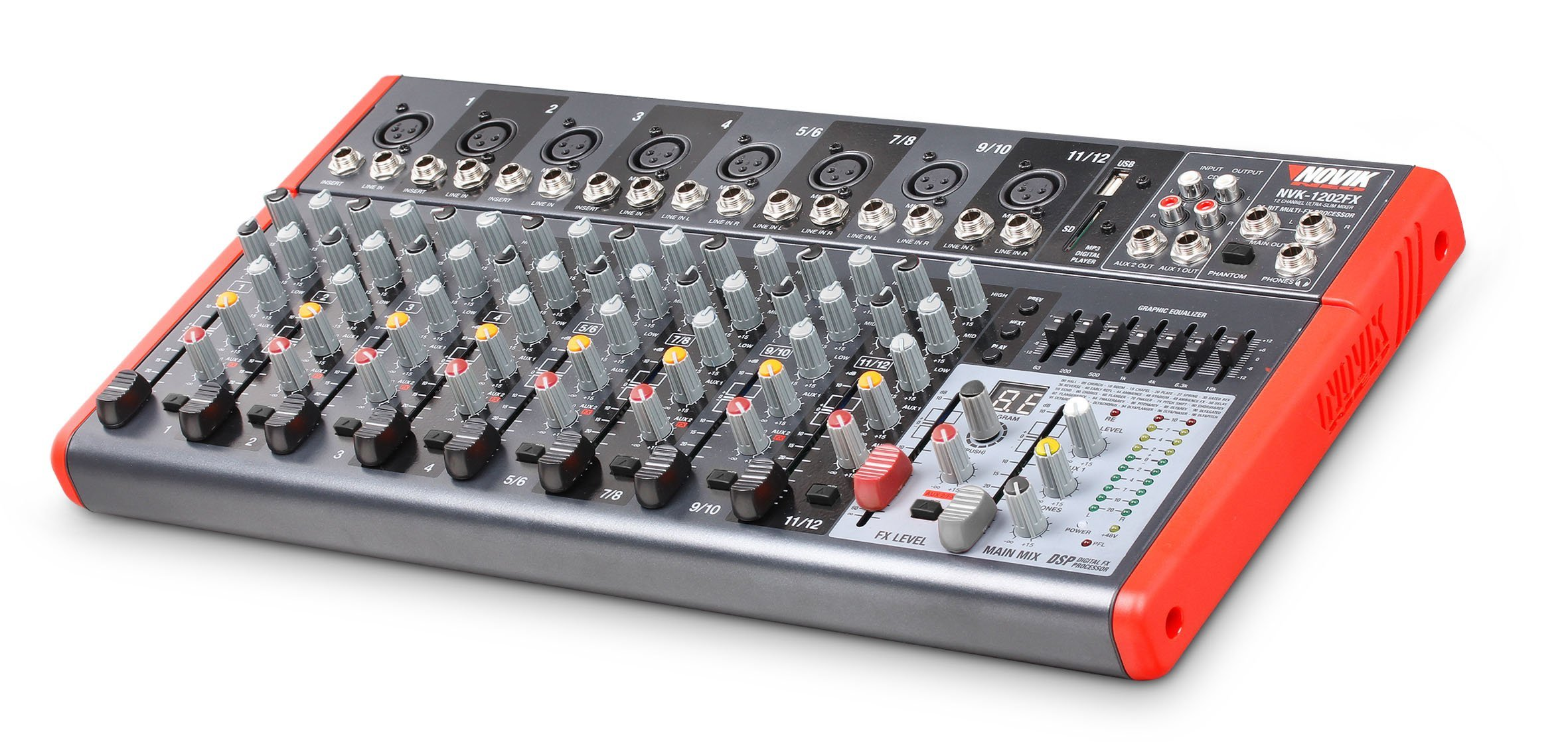 NOVIK NEO MIXER NVK 1202FX 12 Channel Ultra-Slim 8 channels with pre-amplifiers of Mic and Phantom Power (+48v) 4 channels Stereo
