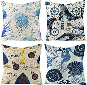 Simoise Mediterranean Style Outdoor Throw Pillow Covers Sea Theme Decorative Cushion Cases Home Decor for Patio Couch Sofa 18x18Inch Pillow Inserts, 4Pack Nautical Pillow Covers