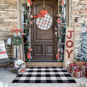 Buffalo Plaid Check Outdoor Rug Door Mat 28'' x 44'' Black and White Hand-Woven Porch Rug Welcome Doormat for Kitchen, Bathroom, Laundry Room, Bedroom