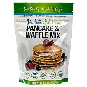 Diabetic Kitchen Keto Pancake Mix - Low Carb Gluten-Free Waffles - No Sugar Added, 9g Fiber - No Artificial Sweeteners or Sugar Alcohols, Non-GMO