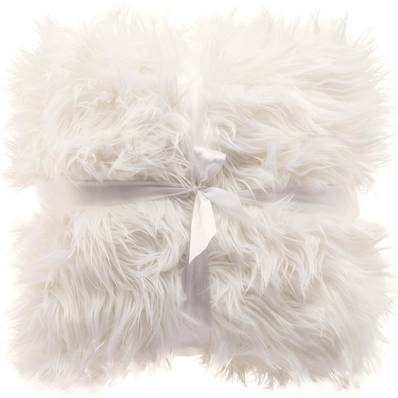 CelinaTex Coussin décoratif, imitation fourrure à poil long et peau de mouton, très doux, blanc, Tissu, gris, Kissen 60 x 60 cm