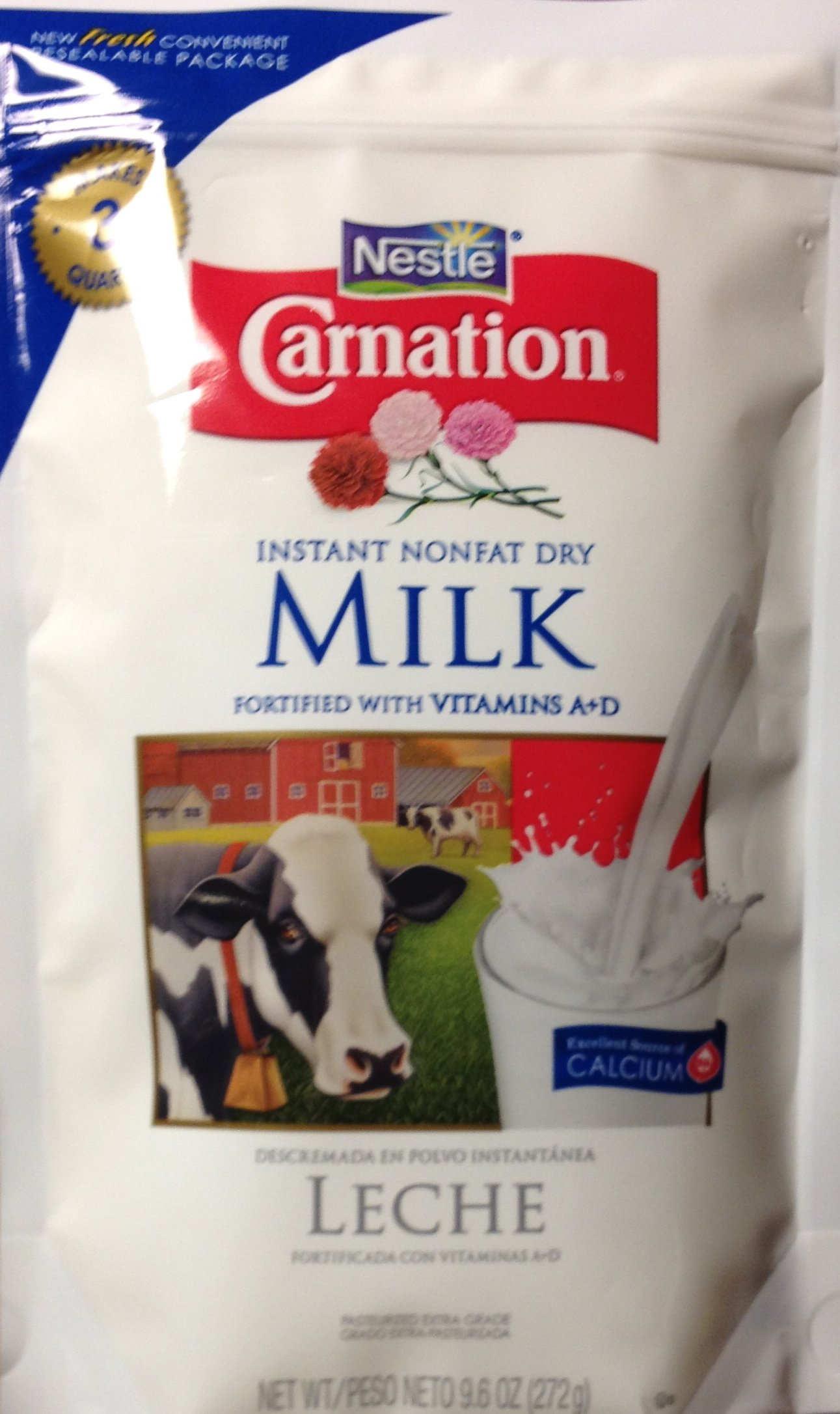Carnation INSTANT Nonfat DRY MILK 9.6oz Pouch (2-Pack) by Nestle (Image #1)