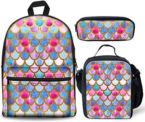 Foruidea - Juego de 3 mochilas de sirena arcoíris para almuerzo, estuche para lápices para niños de vuelta a la escuela, mochila ligera para niños y niñas: Amazon.es: Juguetes y juegos