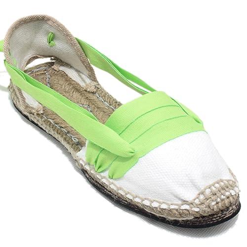 Alpargatas Tradicionales Planas Suela de Goma Diseño Tres Vetas o Tabernero Color Verde Lima: Amazon.es: Zapatos y complementos