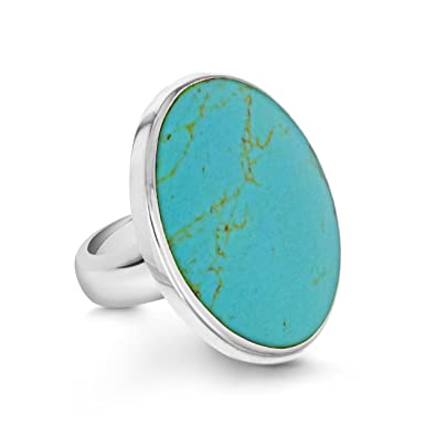 Tuscany Silver Large Round Turquoise Ring 7MeaF