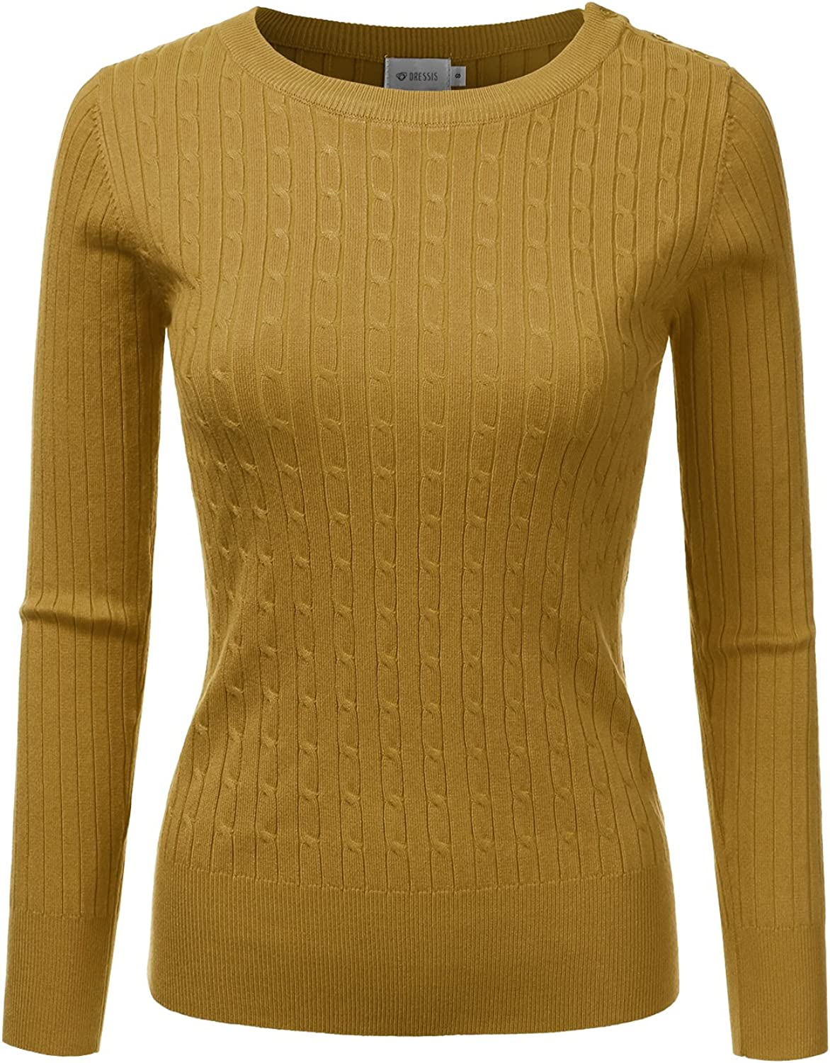 DRESSIS Womens Long Sleeve Round Neck Buttoned Shoulder Cable Knit Sweater Mustard M