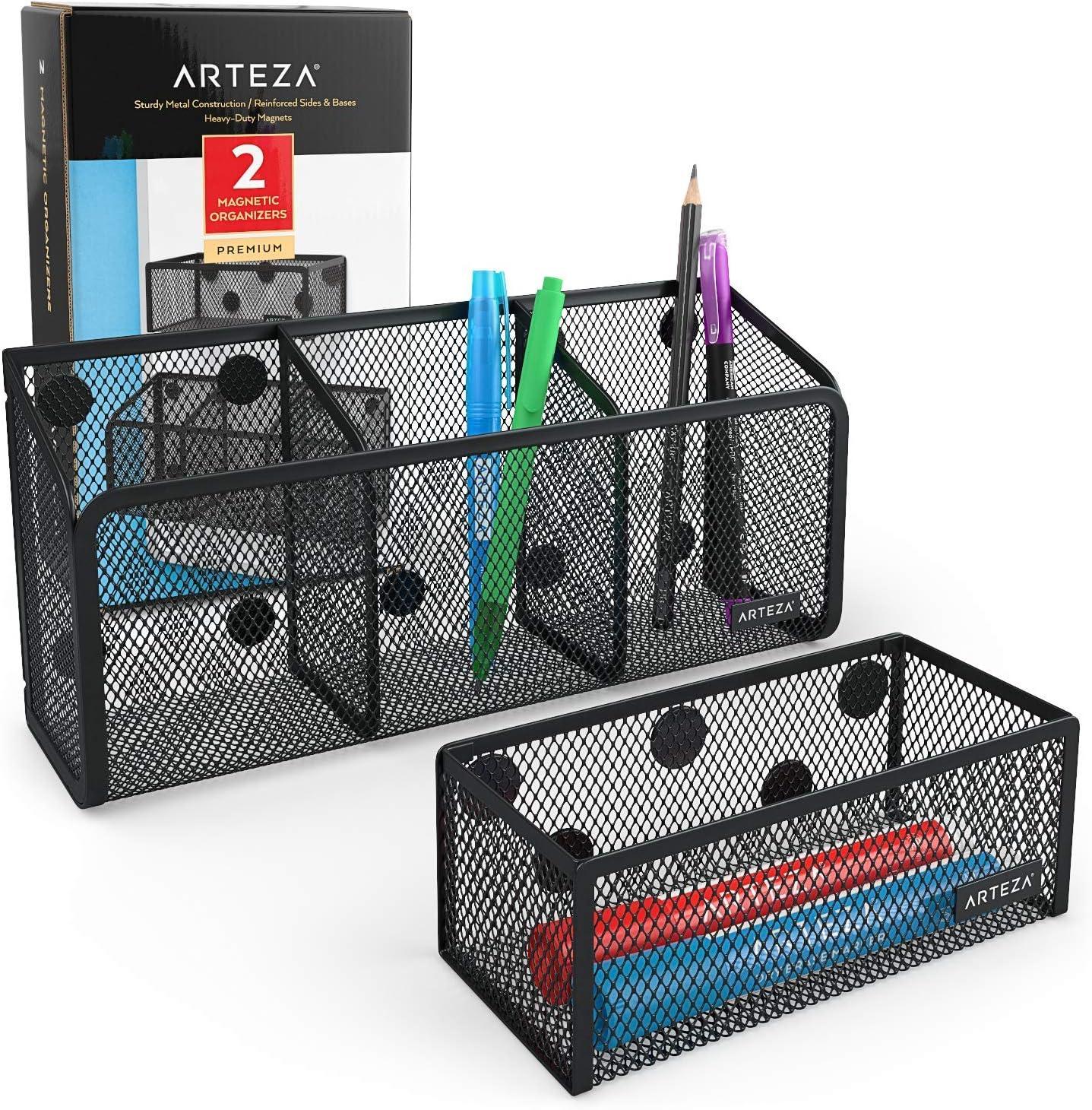 Arteza Organizadores magnéticos de malla | Juego de 2 cestas portalápices con imanes extrafuertes | Organizador de rotuladores y bolígrafos | Sujeta los accesorios de la pizarra con seguridad