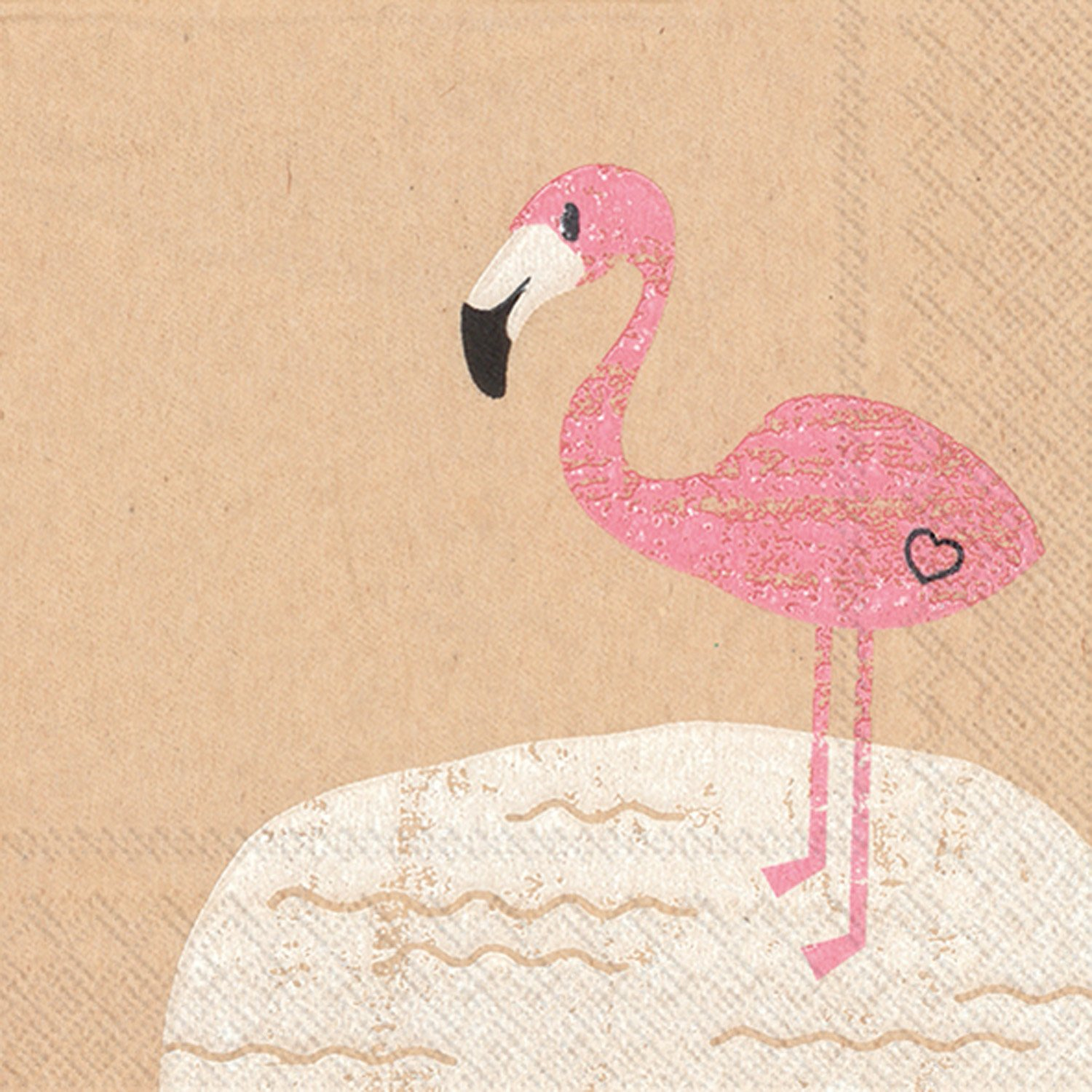 Celebrate the Home Brown Paper 3-Ply Paper Cocktail Napkins, Flamingo, 20 Count