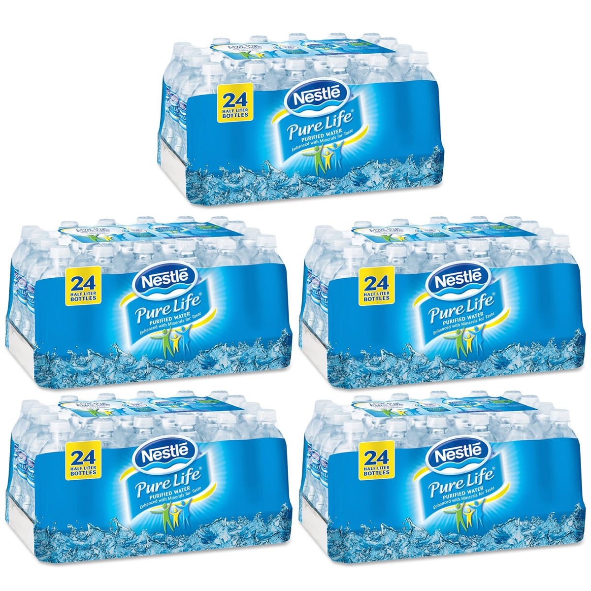 Nestle Pure Life Purified Water, 16.9 oz. Bottles, 5 Cases (24 Bottles)