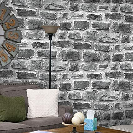 7036 Cement Brick Wallpaper Rolls Gray White Vintage Faux Brick