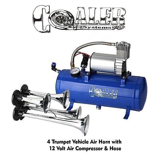 4 Trompeta Air Horn 12 V Compresor Manguera de 18 pies 150 db tren 120 PSI Kit camión: Amazon.es: Coche y moto