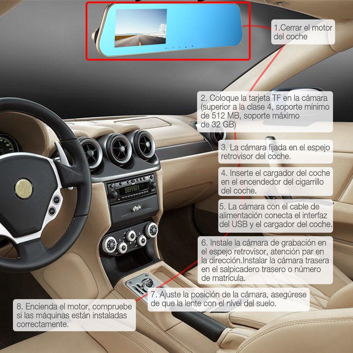 isYoung 1080P Double Caméras de Voiture Avant et Arrière & Enregistreur de voiture 170°Grand Angle+Retroviseur Anti-Eblouissement + L\'écran 4.5\
