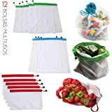 CHIC FANTASY. Bolsas ecologicas de malla reutilizable, ecológicas, lavables para almacenamiento de frutas, verduras y varios
