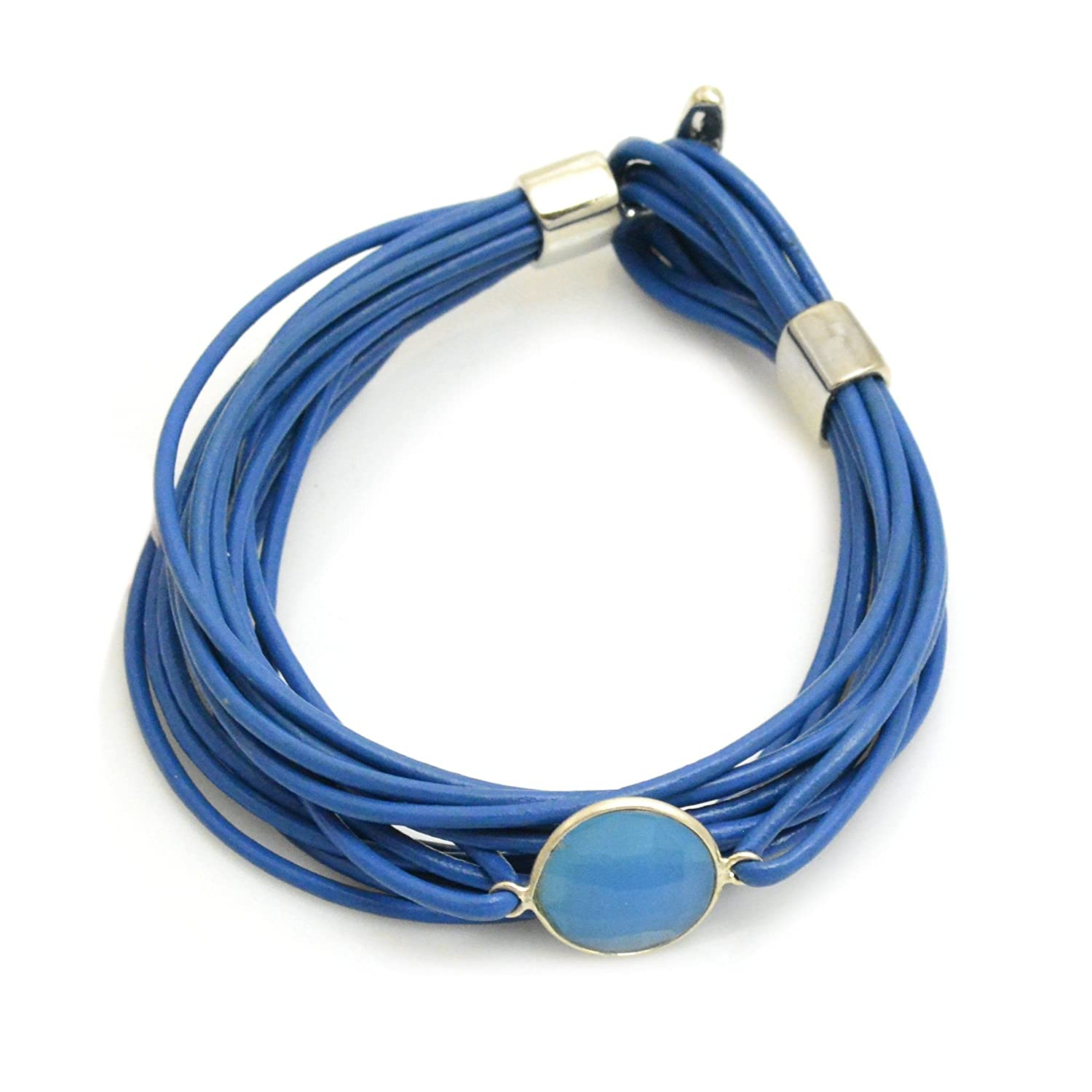 Lisa Robin Jewelry Bezel Faceted Gemstone Leather Bracelet in Blue and Blue Chalcedony