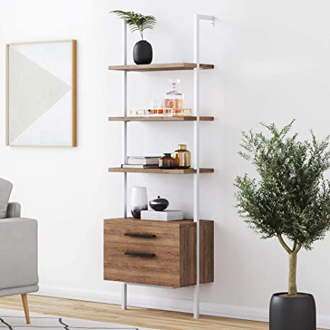 Rustic Oak//White Nathan James 65802 Theo Industrial Bookshelf with Wood Drawers and Matte Steel Frame