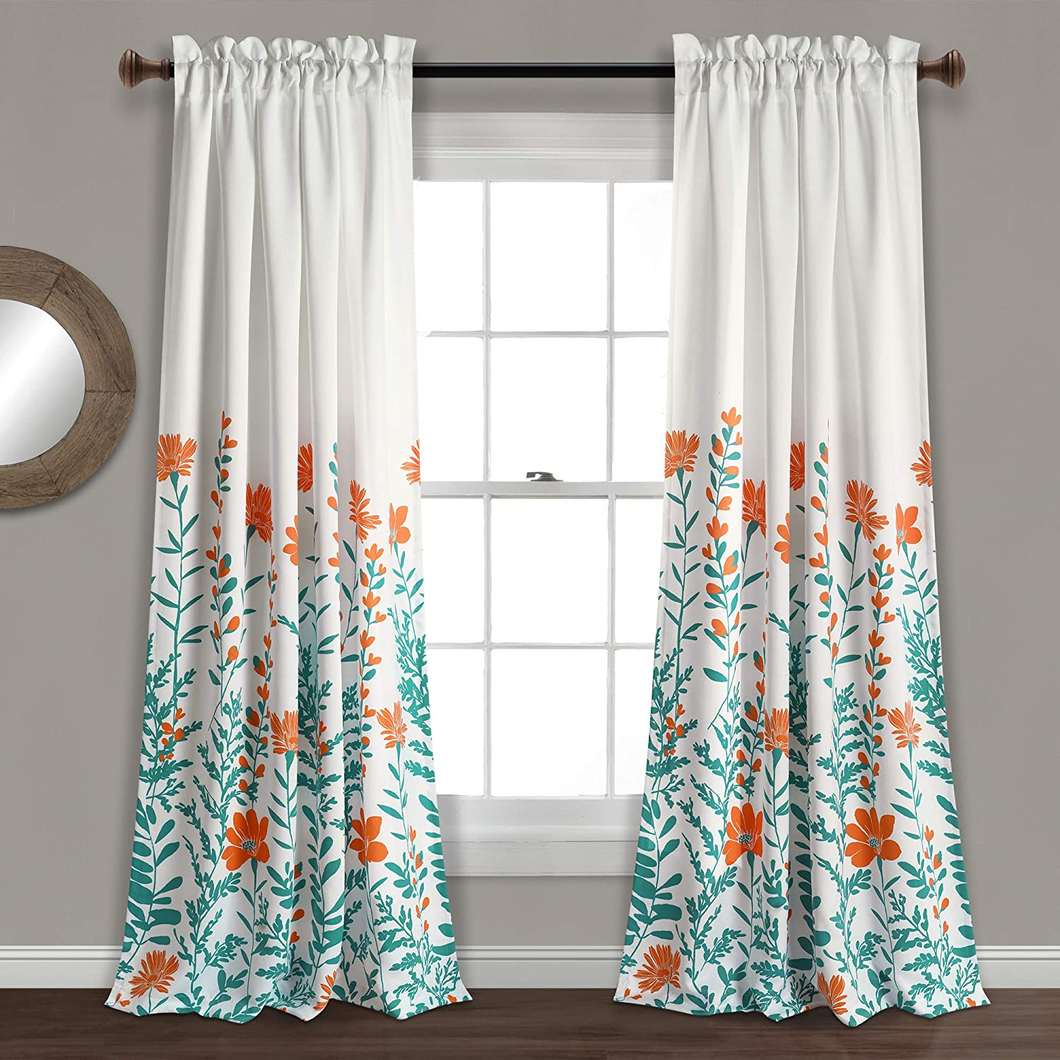 "Lush Decor Aprile Room Darkening Curtains-Floral Leaf Design Window Panel Drapes Set for Living, Dining, Bedroom (Pair), 84"" x 52"", Turquoise, Orange and Turquiose"