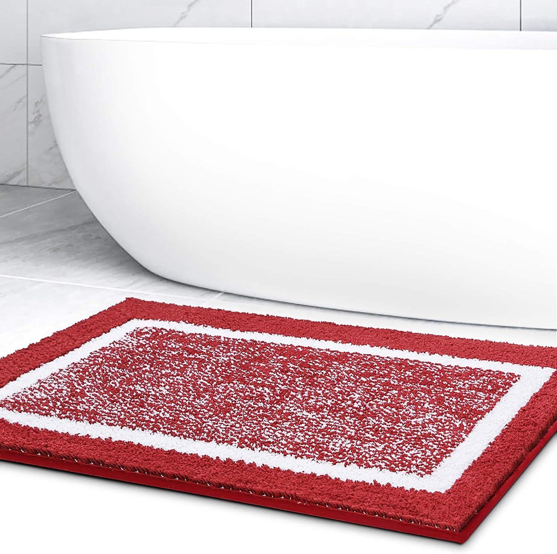 Color&Geometry Alfombra de Baño Antideslizante, Alfombrilla de Baño, Microfibra Suave, Lavable en la Lavadora, Súper Absorbente, 50 x 75 cm (Rojo)