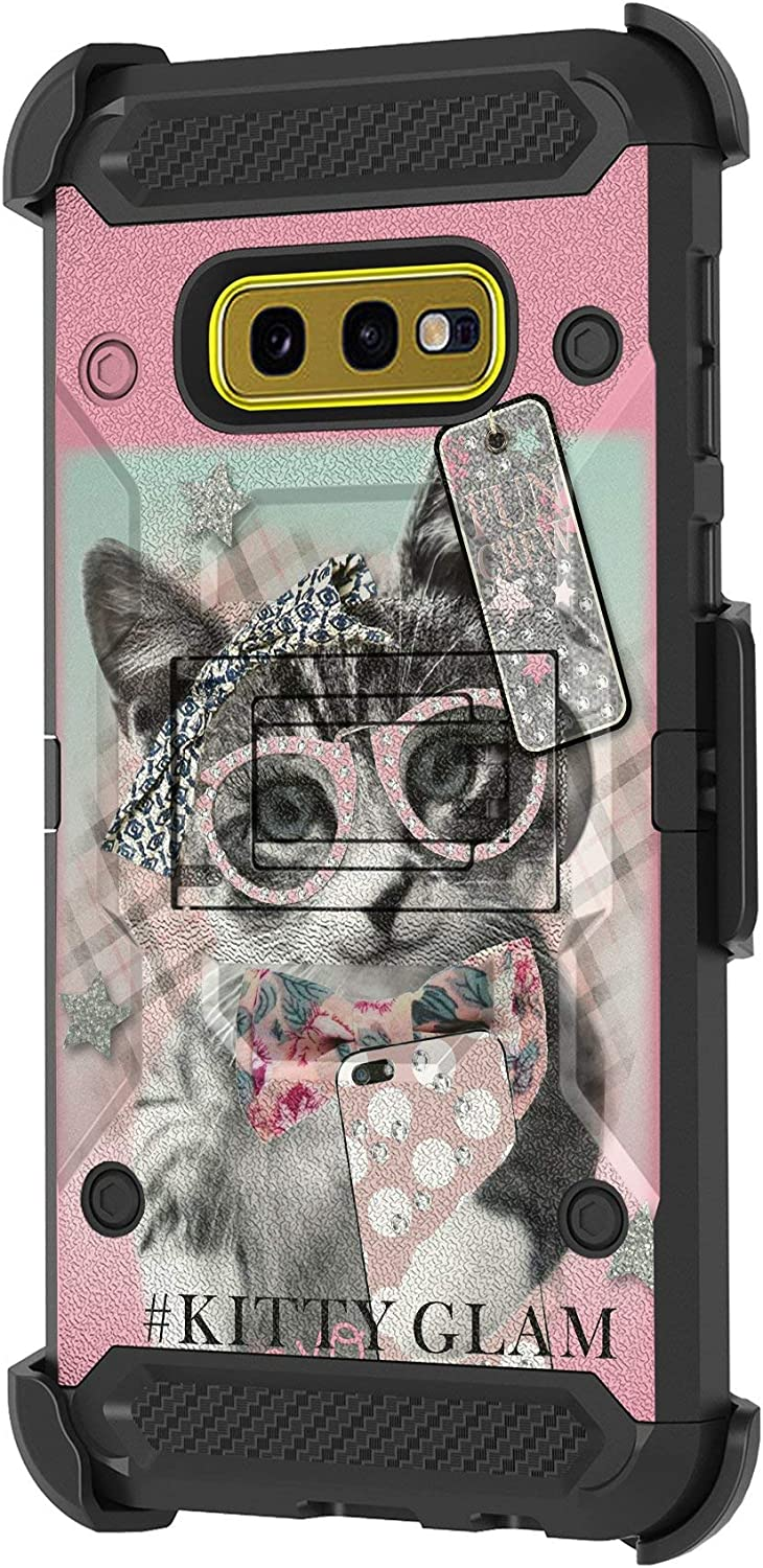 TurtleArmor | Compatible with Samsung Galaxy S10e Case | S10 Lite Case | G970 [Armor Pro] Full Body Armor Hybrid Kickstand Holster Belt Clip Case Girls - Hipster Cat