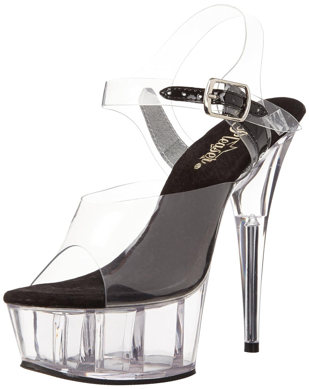 Pleaser Women's Delight-608 Ankle-Strap Sandal B00B22SUM0 6 B(M) US Clear/Black/Clear