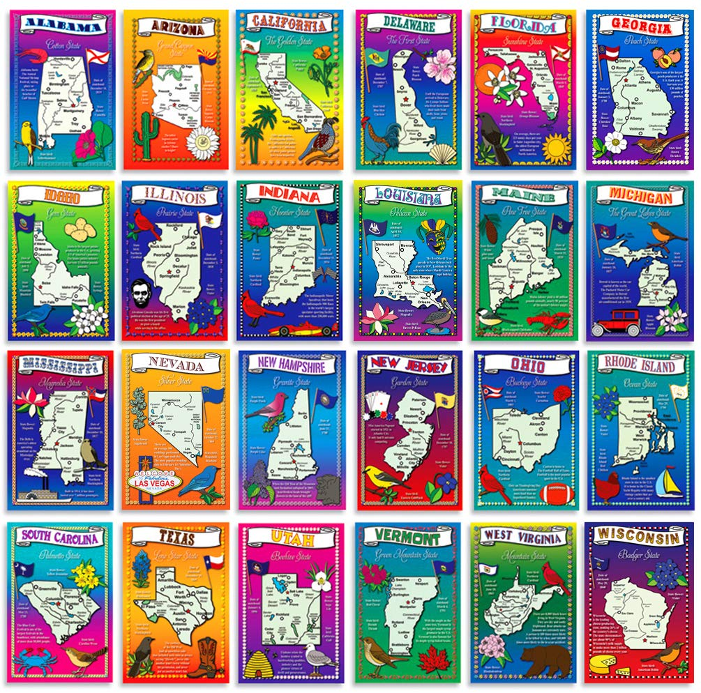 The Fifty States Map.Amazon Com U S State Map Postcard Set 50 Modern Post Card
