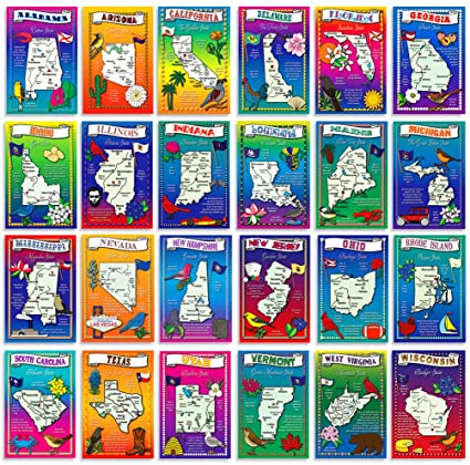 US State Map Postcard Set  50 modern post card variety pack  Illustrated  postcards with maps of all fifty states of the United States of America   Made