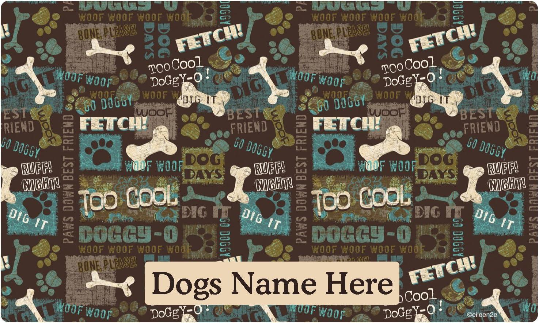 Drymate Custom Personalized Dog Place Mat - Best Friend Green - Personalized Dog Food Mat (Medium - 12