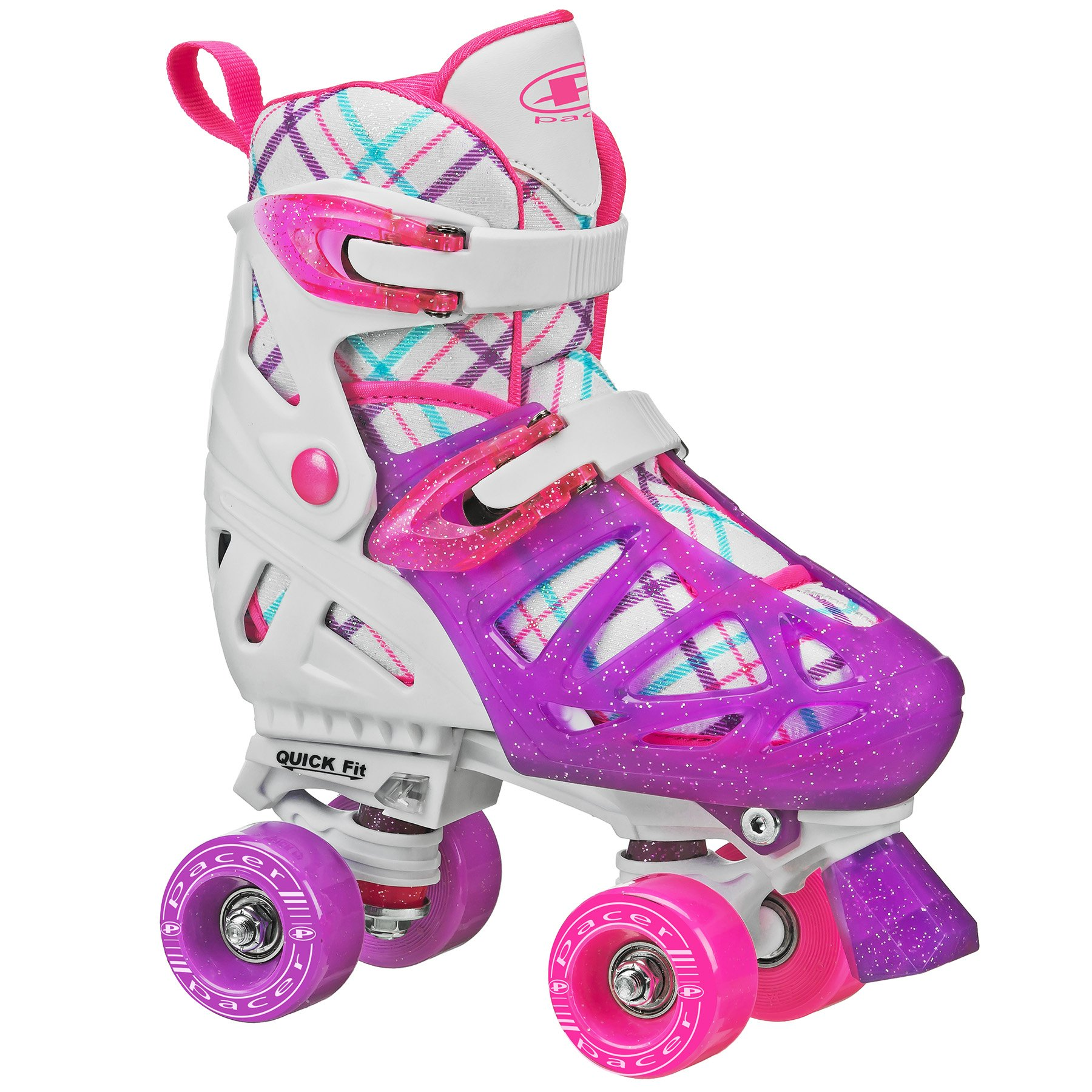 Pacer XT70 Adjustable Artistic Quad Roller Skates for Youth Children (white small)