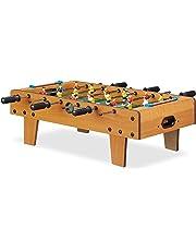 Relaxdays- Baby-Foot Mini babyfoot Enfants Adulte Jeu de Table Soccer de Voyage lxP 69 x 37 cm, Vert-Marron, 10022517, 23 x 69 x 37 cm