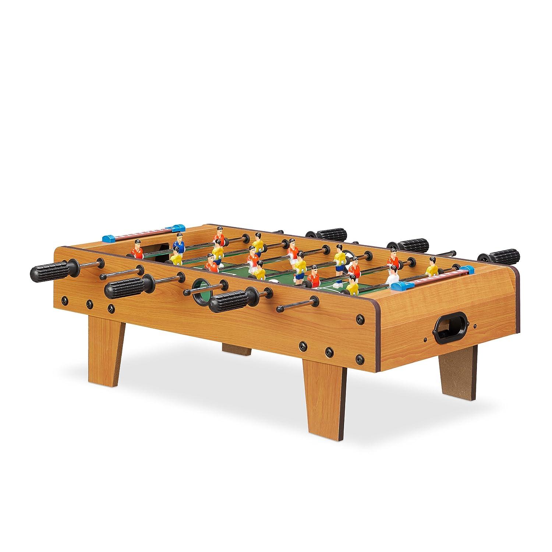 Relaxdays Baby-Foot Mini babyfoot Enfants Adulte Jeu de Table Soccer de Voyage lxP 69 x 37 cm, Vert-Marron, 10022517, 23 x 69 x 37 cm