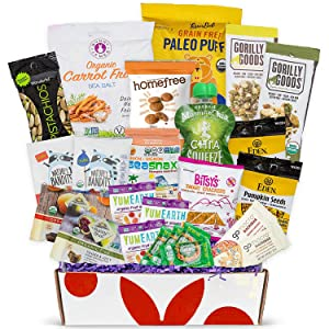 Organic Snack Box Care Package- Assortment Of All Certified Organic Healthy Snack Bars, Cookies, Fruit Snacks, Chips & Sweets - Great Organic Gift Box