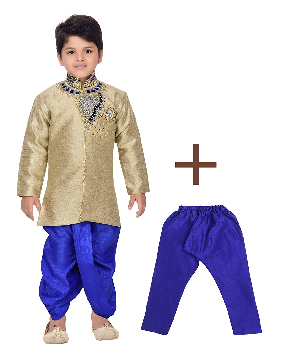 AJ Dezines Kids Indian Wear Bollywood Style Kurta Pyjamas Dhoti for Baby Boys 1903-BLUE-1