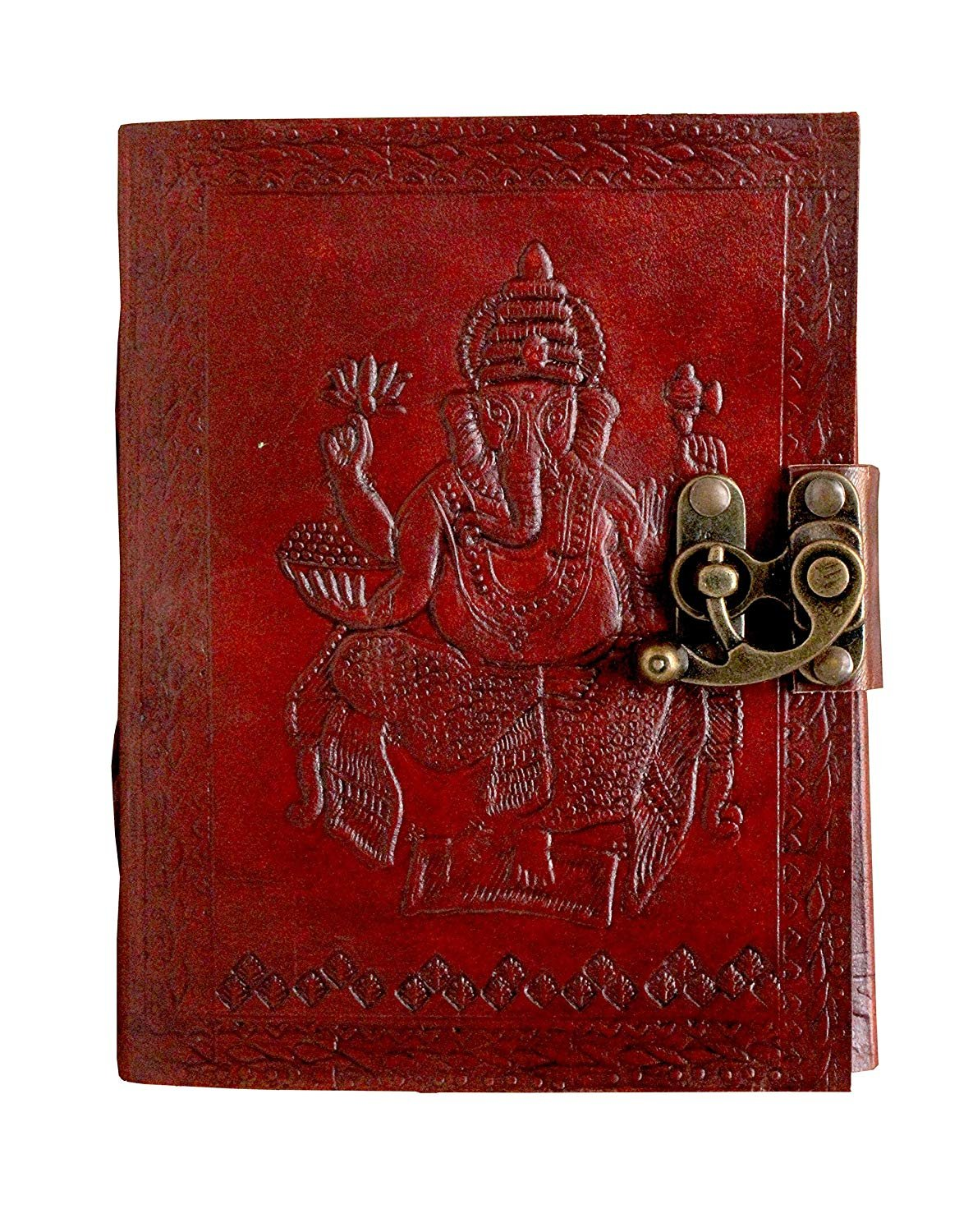 S R MART Pure Genuine Real Vintage Hunter Leather Handmade Paper Notebook Diary for Office Home to Write Poem Daily Update with Attractive Metal Lock and Engraved Ganesha