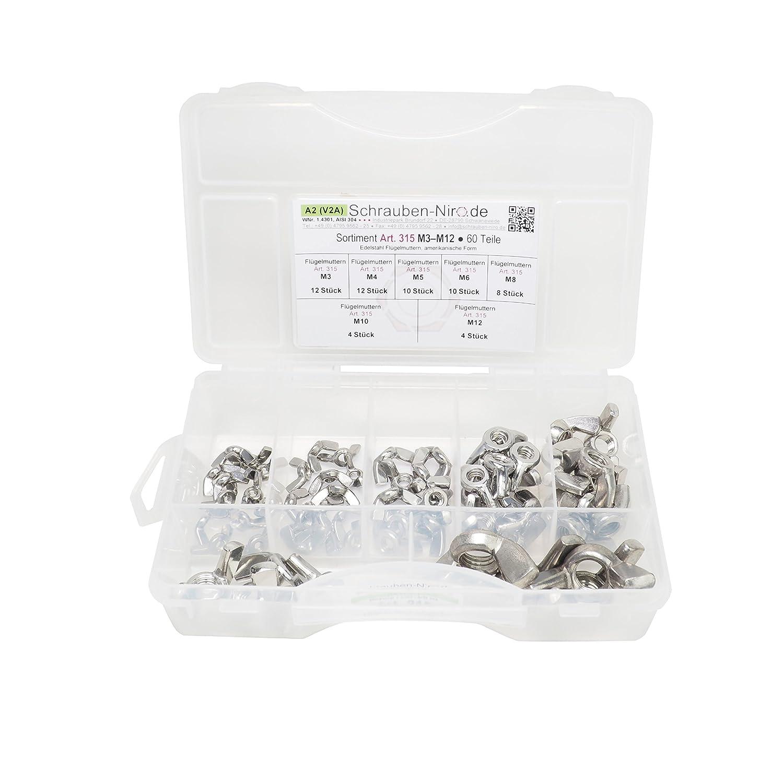 Sortiment Edelstahl A2 Flü gelmuttern DIN 315, M3 bis M12, 60 Teile, Material: V2A VA schrauben-niro.de ®