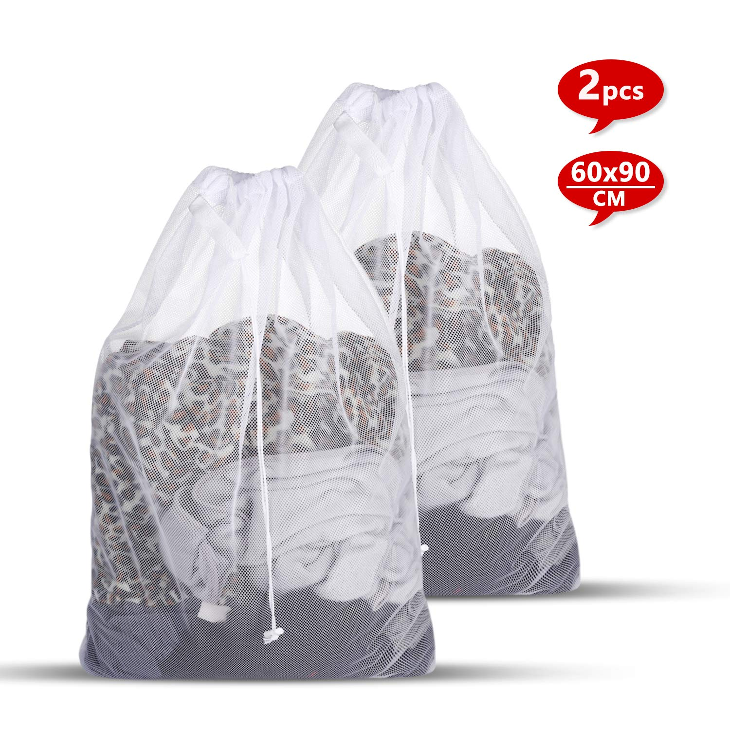 Laundry Bag, Mesh Laundry Bag - Reusable Washing Bags - Large Laundry Bags for Lingerie, Tights, Socks and Underwear 60 x 90cm Ucradle