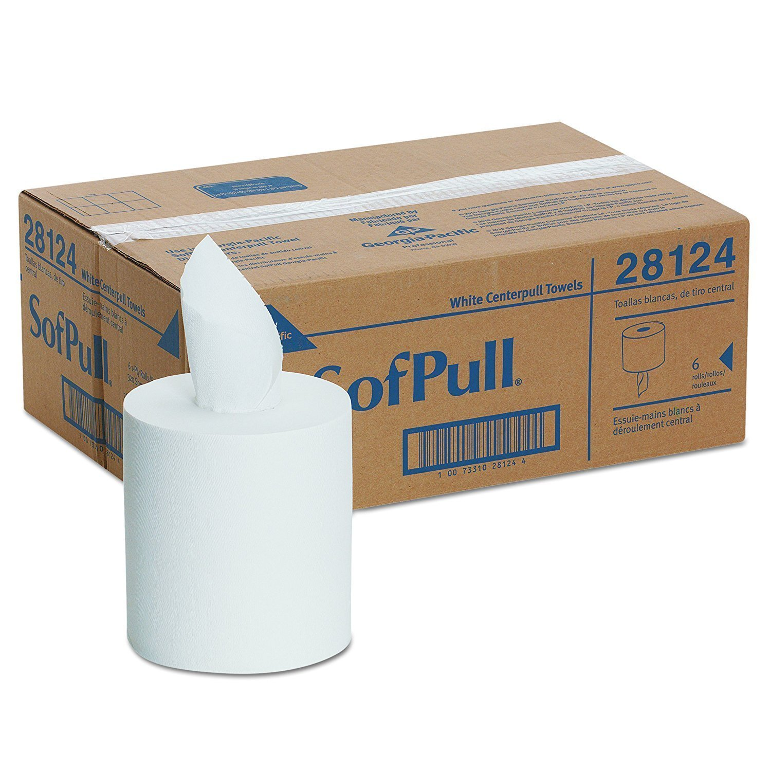 Georgia-Pacific GPC28124 Professional SofPull Center-Pull Perforated Paper Towels,7 4/5x15, White, 320 Per Roll (3 CASES)
